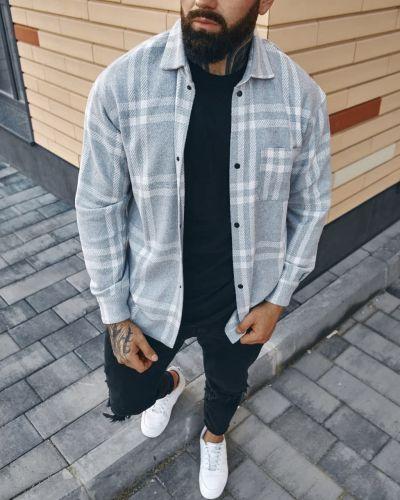 Теплая рубашка - серая Fashion Man
