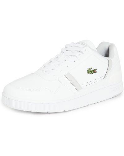Кожаные белые кроссовки на шнурках Lacoste