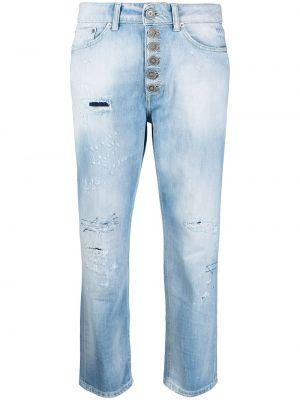 Хлопковые синие укороченные джинсы на пуговицах Dondup