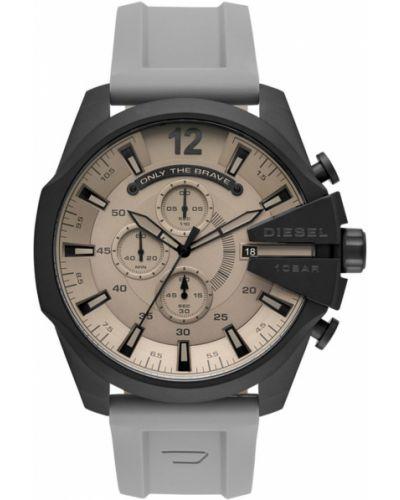 Szary zegarek kwarcowy z paskiem Diesel