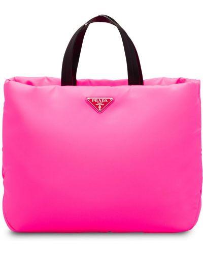 Кожаная сумка сумка-тоут розовый Prada