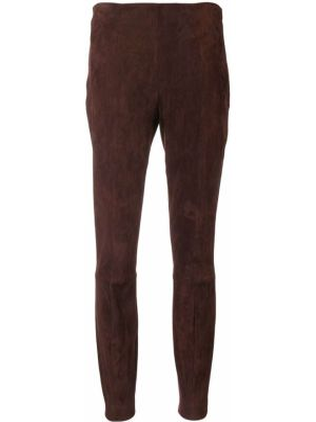 Свободные ватные кожаные коричневые брюки The Row