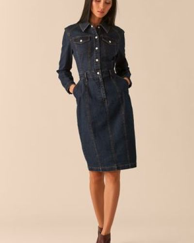 Синее приталенное платье миди на кнопках с карманами Love Republic