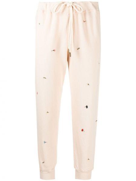 Хлопковые розовые укороченные брюки эластичные The Great.