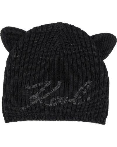 Трикотажная черная шапка с пайетками Karl Lagerfeld Kids