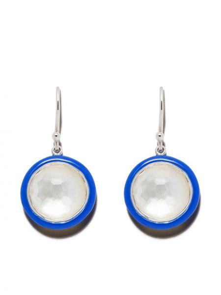Синие серьги-гвоздики с жемчугом на крючках Ippolita