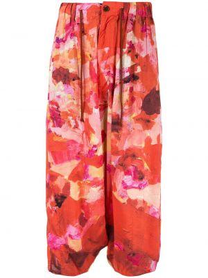 Оранжевые укороченные брюки свободного кроя пэчворк с карманами Yohji Yamamoto Pre-owned