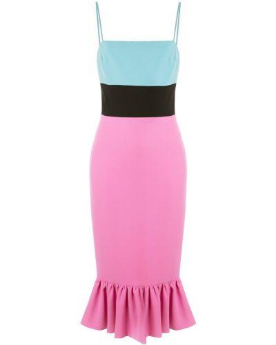 Платье миди розовое с баской Christian Siriano