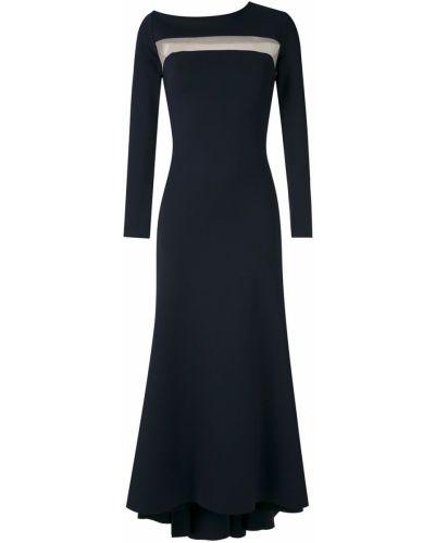 Синее платье миди со вставками прозрачное с вырезом Gloria Coelho