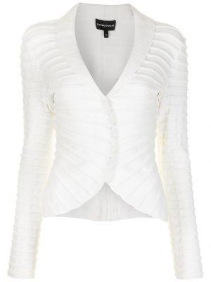 Белый удлиненный пиджак на пуговицах из вискозы Emporio Armani