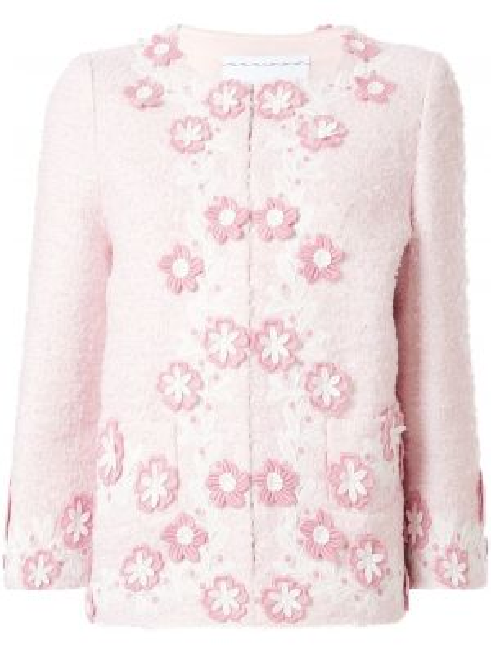 С рукавами розовая куртка с аппликациями с карманами Andrew Gn