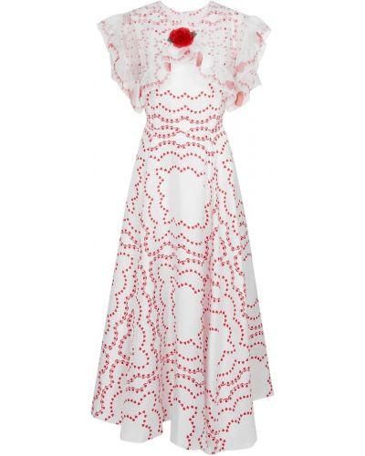 Шелковое платье миди - белое Rodarte