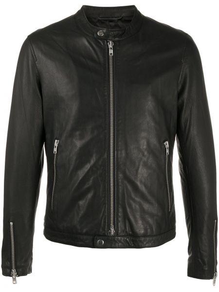 Кожаная черная длинная куртка с манжетами с карманами S.w.o.r.d 6.6.44