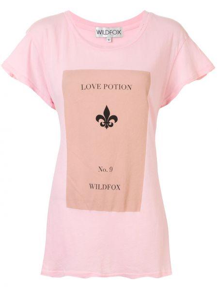 Różowy t-shirt bawełniany z printem Wildfox