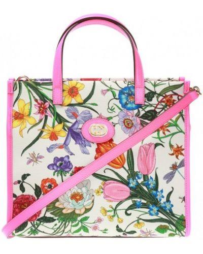 Różowa złota torebka w kwiaty Gucci