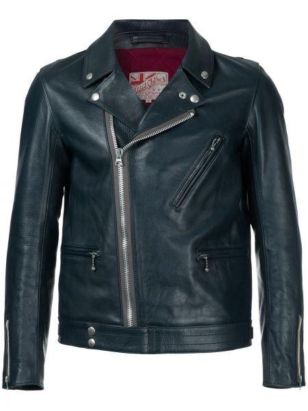 Кожаная синяя кожаная куртка байкерская Addict Clothes Japan