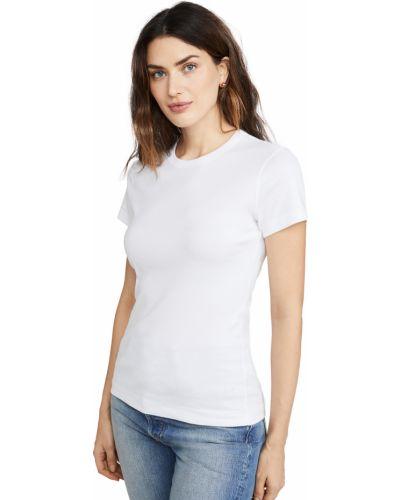 Хлопковая белая футболка с длинными рукавами Three Dots
