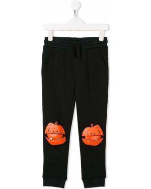 Czarne spodnie bawełniane peep toe Stella Mccartney Kids
