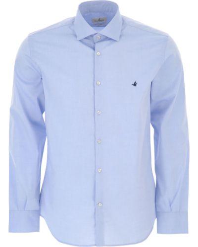 Niebieska koszula slim bawełniana z długimi rękawami Brooksfield