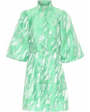 Платье из парчи зеленый Ganni