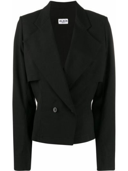 Шерстяной черный приталенный пиджак на пуговицах Alaïa Pre-owned