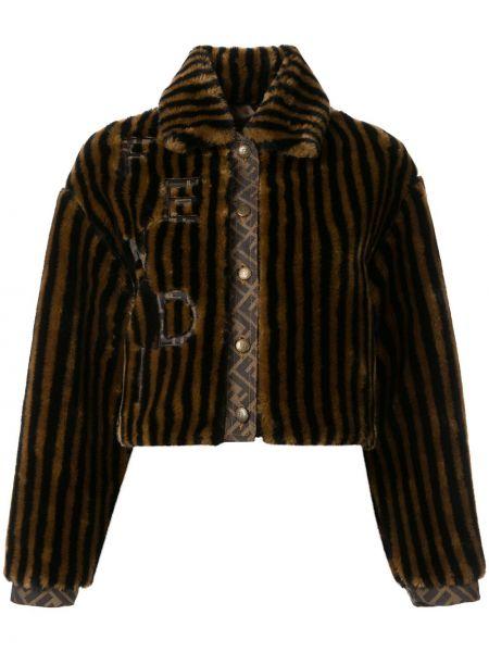 Коричневая короткая куртка винтажная с воротником Fendi Pre-owned