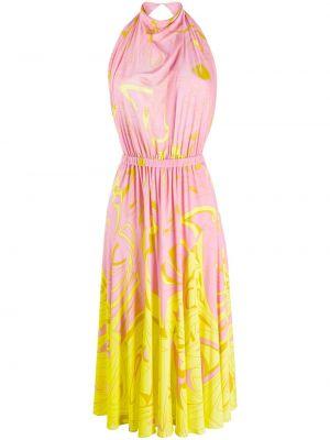 Розовое платье миди с поясом с вырезом Emilio Pucci
