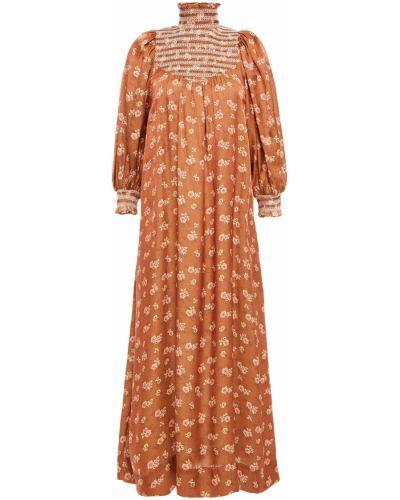 Brązowa sukienka z printem Bytimo