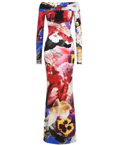 Платье макси с цветочным принтом с поясом Roberto Cavalli