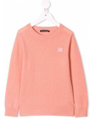 Różowy sweter wełniany z haftem Acne Studios Kids