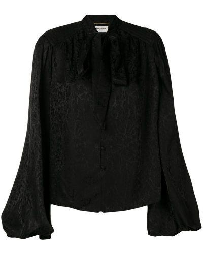 Блузка с длинным рукавом на резинке с воротником-стойкой Saint Laurent