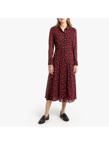 Повседневное платье на пуговицах с прозрачными рукавами La Redoute