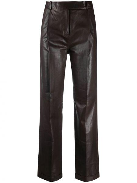 Коричневые прямые брюки с карманами с высокой посадкой Arma