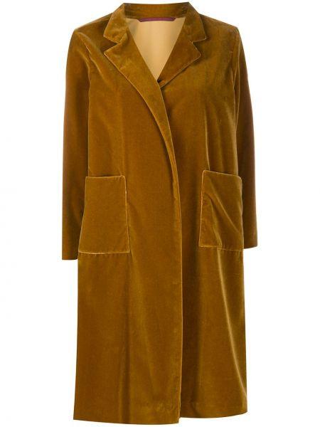 Бархатное коричневое пальто с карманами Daniela Gregis