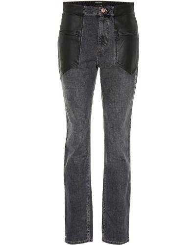 Bawełna skórzany czarny jeansy przycięte Isabel Marant