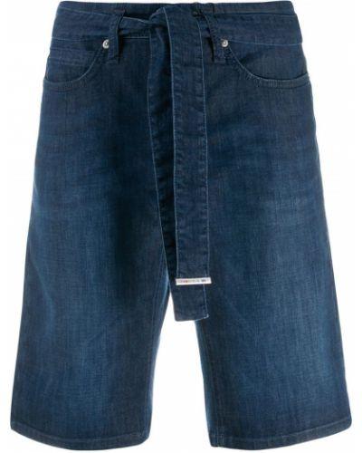 Прямые джинсовые шорты с карманами со стразами Cambio