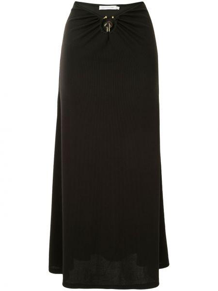 С завышенной талией черная юбка миди в рубчик Christopher Esber