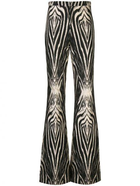 Шелковые черные расклешенные брюки с потайной застежкой Christian Siriano