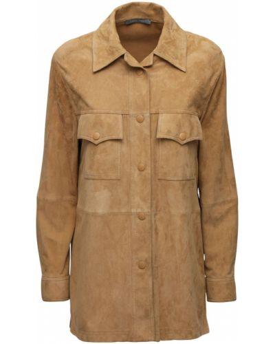 Замшевая бежевая рубашка с манжетами с карманами Alberta Ferretti