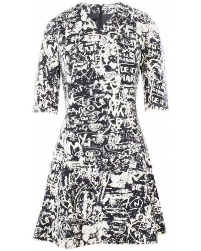 Czarna sukienka długa z printem Carven