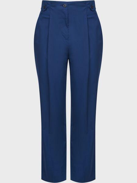 Хлопковые синие брюки на пуговицах Sfizio