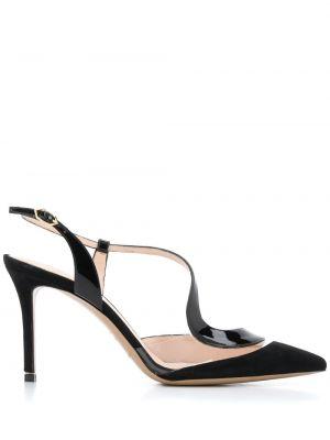 Skórzany czarny sandały z klamrą na pięcie Nicholas Kirkwood