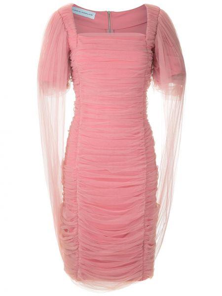 Приталенное розовое платье из фатина на молнии Gloria Coelho