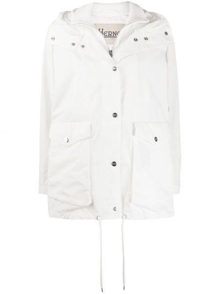 Белая длинное пальто с капюшоном на кнопках Herno