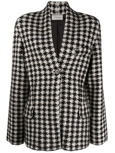 Черный удлиненный пиджак с лацканами из вискозы с карманами Laneus
