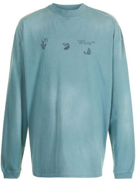 Bawełna z rękawami niebieski bluza Off-white
