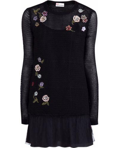 Платье мини с цветочным принтом шерстяное Redvalentino