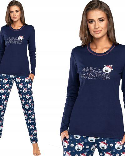 Piżama bawełniana z długimi rękawami granatowa Italian Fashion