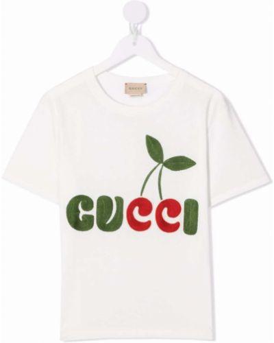 Biała T-shirt z nadrukiem bawełniana Gucci Kids