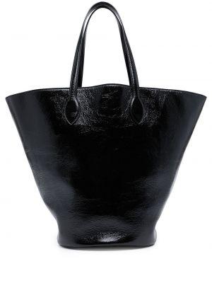 Лаковая кожаная черная сумка-тоут Khaite